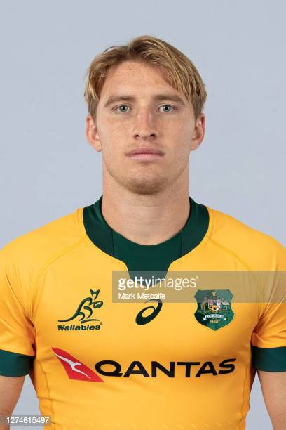 Tate McDermott poses during the Australian Wallabies rugby team headshots session at the Crowne Plaza on September 21 2020 in the Hunter Valley...