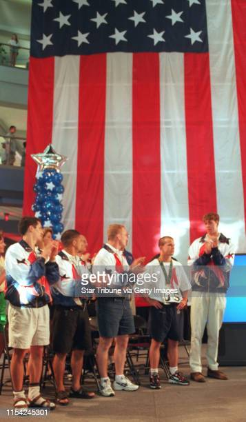 tate of Minnesota welcomes home its Oylmpic athletes during a ceremony at the Mall of America Athletes include silver medalist swimmer Tom Malchow...