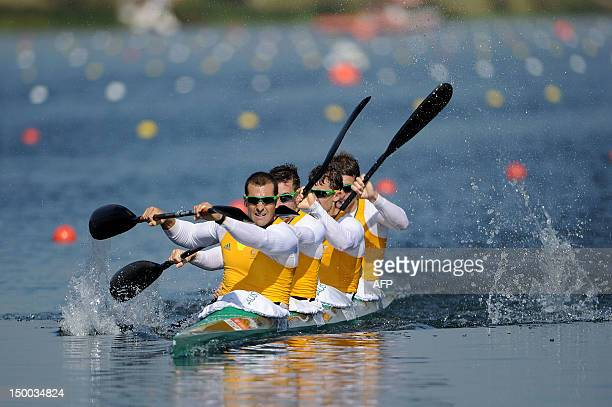 Tate Smith Dave Smith Murray Stewart and Jacob Clear of Australia compete on the way to winning the Gold medal in the Men's Kayak Four 1000m Canoe...