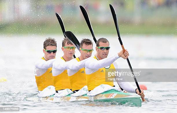 Tate Smith Dave Smith Murray Stewart and Jacob Clear of Australia compete during the Men's Kayak Four 1000m Canoe Sprint Heats on Day 11 of the...