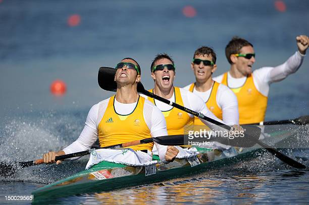 Tate Smith Dave Smith Murray Stewart and Jacob Clear of Australia celebrate winning the Gold medal in the Men's Kayak Four 1000m Canoe Sprint on Day...