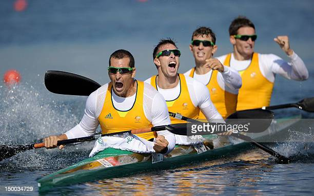 Tate Smith Dave Smith Murray Stewart and Jacob Clear of Australia celebrate winning the Gold medal in the Men's Kayak Four 1000m Canoe Sprint at Eton...
