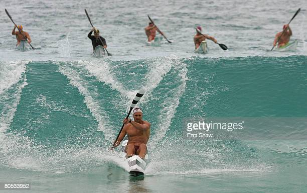 Tate Smith from Northcliffe competes in the men's single ski race during day five of the 2008 Australian Surf Lifesaving Championships at Scarborough...