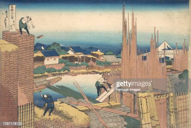 Tatekawa in Honjo , from the series Thirty-six Views of Mount Fuji , circa 1830-32. Artist Hokusai.