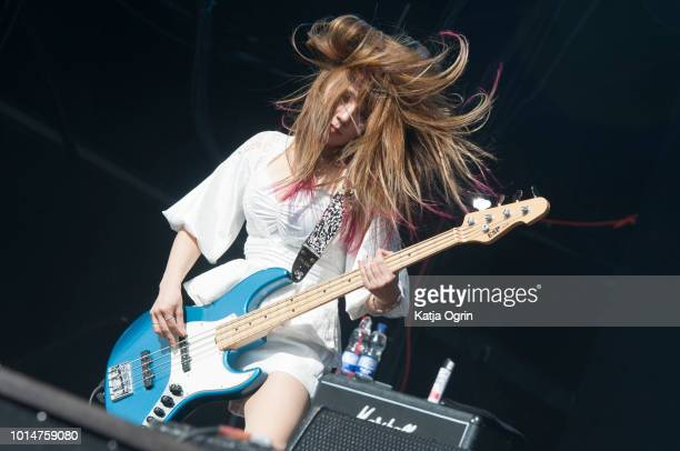 Tatematsu Midori of Lovebites performs at Bloodstock Festival at Catton Hall on August 10 2018 in Burton Upon Trent England
