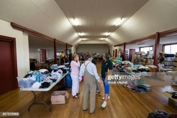 Tathra town hall which is taking donations of living essentials on March 25 2018 in Tathra Australia A bushfire which started on 18 March destroyed...