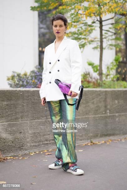 Tati Cotliar is seen attending Junko Shimada during Paris Fashion Week wearing Dries van Noten Stella McCartney Raf Simons on October 3 2017 in Paris...