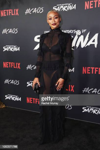 Tati Gabrielle attends Netflix Original Series Chilling Adventures of Sabrina red carpet and premiere event on October 19 2018 in Los Angeles...