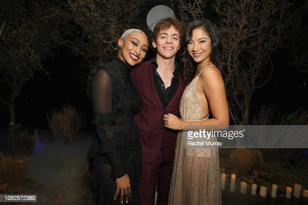 Tati Gabrielle Ross Lynch and Adeline Rudolph attend Netflix Original Series Chilling Adventures of Sabrina red carpet and premiere event on October...
