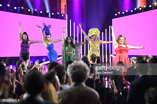 Tatiana Alaska Thunderfvck Phi Phi O'Hara Alyssa Edwards and Ginger Minj perform at the 2016 Logo's Trailblazer Honors at Cathedral of St John the...