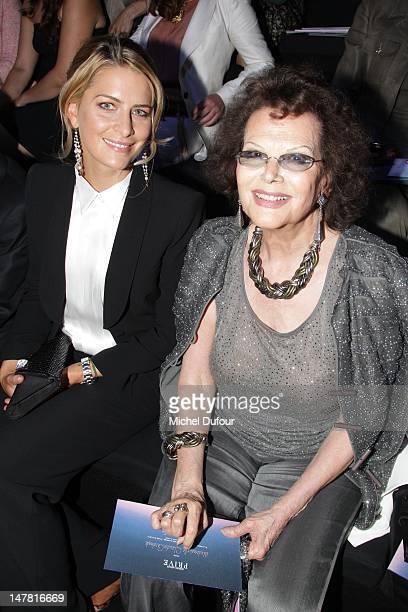 Tatiana Blatnik and Claudia Cardinale attend the Giorgio Armani Prive HauteCouture Show as part of Paris Fashion Week Fall / Winter 2012/13 at Palais...