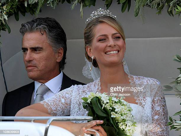 Tatiana Blatnik and her father Atilio Brillembourg arrive at the Cathedral of Ayios Nikolaos for her wedding to Prince Nikolaos of Greece on August...