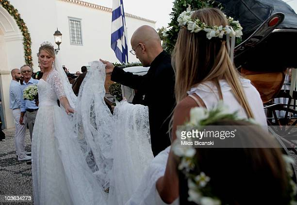 Tatiana Blatnik arrives at the Cathedral of Ayios Nikolaos for her wedding to Prince Nikolaos of Greece on August 25 2010 in Spetses Greece...