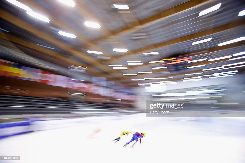 Tatiana Bodova of Slovakia leads the group during the Women's 1000m pre-preliminaries on day two of the Samsung ISU Short Track World Cup at the Palatazzoli on November 8, 2013 in Turin, Italy.