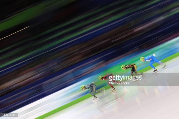 Tatiana Borodulina of Australia leads Sun Linlin of China Hiroko Sadakane of Japan and Arianna Fontana of Italy during the Short Track Speed Skating...