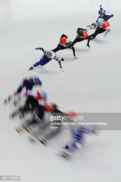 Tatiana Borodulina of Russia leads the pack in the Ladies 1000m quarter final during day 2 of the European Short Track Speed Skating Championships at...