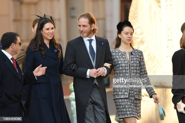 Tatiana Casiraghi Andrea Casiraghi and Princess Alexandra of Hanover attend Monaco National Day Celebrations on November 19 2018 in MonteCarlo Monaco
