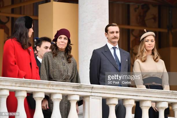 Tatiana Casiraghi Charlotte Casiraghi Pierre Casiraghi and Beatrice BorromeoCasiraghi attend the Monaco National day celebrations in Monaco Palace...