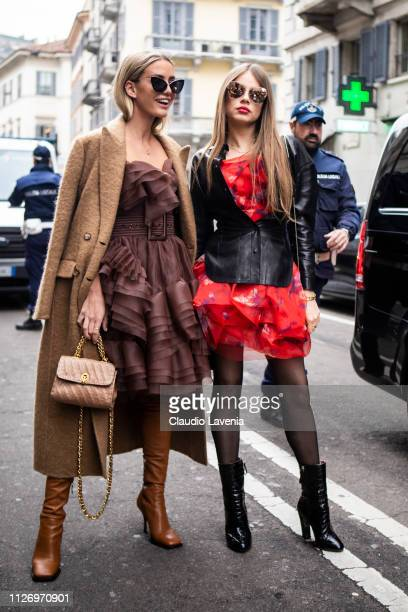 Tatiana Catic and Xenia Tchoumitcheva attend the Ermanno Scervino show at Milan Fashion Week Autumn/Winter 2019/20 on February 23, 2019 in Milan,...