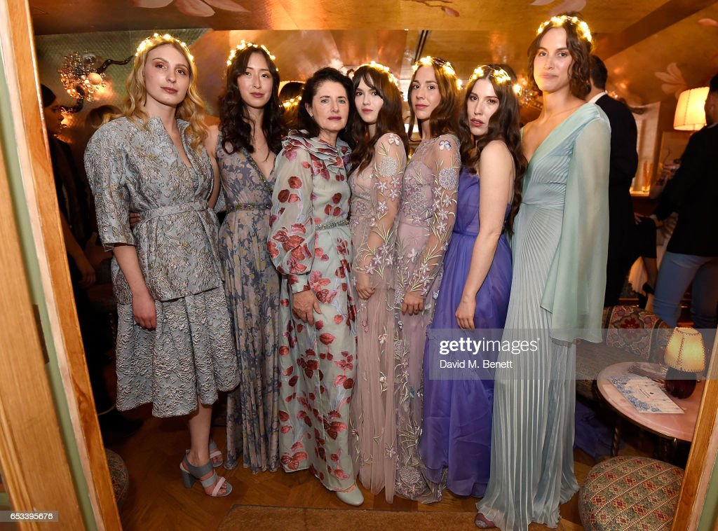 Tatiana Cheneviere, Laura Lambert, Luisa Beccaria, Tara Heather, Marta Jakoubwska, Lily Lewis and Alana Bunte at the Luisa Beccaria and Robin Birley event celebrating Sicilian lifestyle, music and fashion at 'Upstairs', at 5 Hertford Street on March 14, 2017 in London, England.