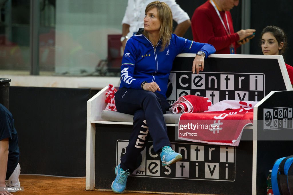 """Tatiana Garbing captain of Italy team during 2018 Fed Cup BNP Paribas World Group II First Round match between Italy and Spain at Pala Tricalle """"Sandro Leombroni"""" on February 10, 2018 in Chieti, Italy."""