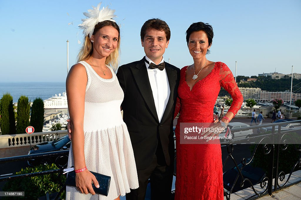 Tatiana Golovin, Arnaud Boetsch and guest attend the cocktail at the 'Love Ball' hosted by Natalia Vodianova in support of The Naked Heart Foundation at Opera Garnier on July 27, 2013 in Monaco, Monaco.