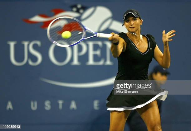 Tatiana Golovin during her quarterfinal match against Maria Sharapova at the 2006 US Open at the USTA Billie Jean King National Tennis Center in...