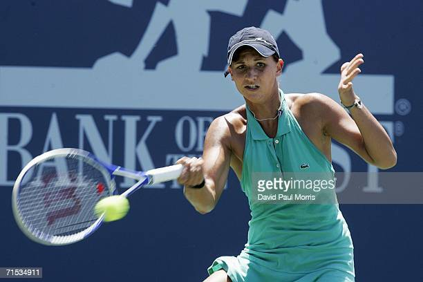 Tatiana Golovin of France returns a shot against AnnaLena Groenefeld of Germany at the Bank of the West Classic on July 28 2006 in Stanford California