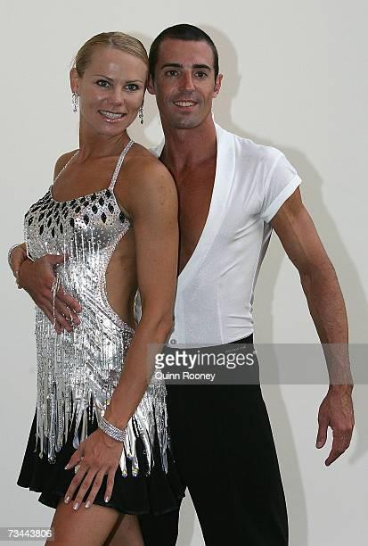 Tatiana Grigorieva and her dance partner fromDancing with the Stars Brendan Humphreys pose together during the Athletics Australia John Landy Lunch...