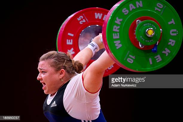 Tatiana Kashirina from Russia failed her attempt in the Snatch competition women's 75 kg Group A during weightlifting IWF World Championships Wroclaw...