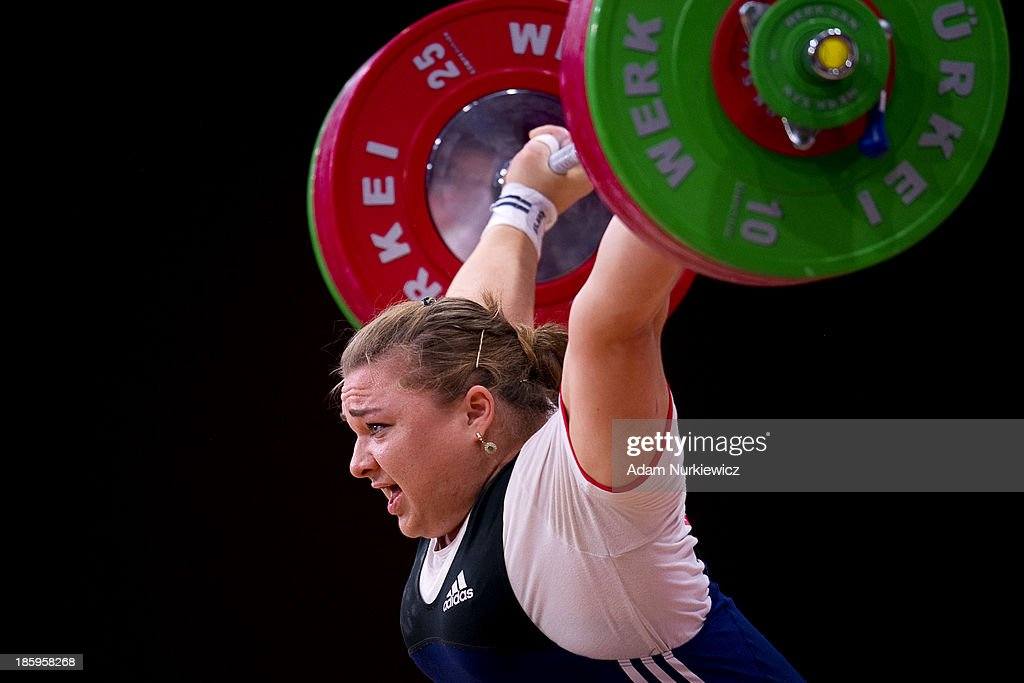 Tatiana Kashirina from Russia lifts in the Snatch competition women's 75 kg Group A during weightlifting IWF World Championships Wroclaw 2013 at Centennial Hall on October 26, 2013 in Wroclaw, Poland