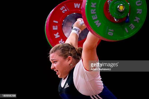 Tatiana Kashirina from Russia lifts in the Snatch competition women's 75 kg Group A during weightlifting IWF World Championships Wroclaw 2013 at...