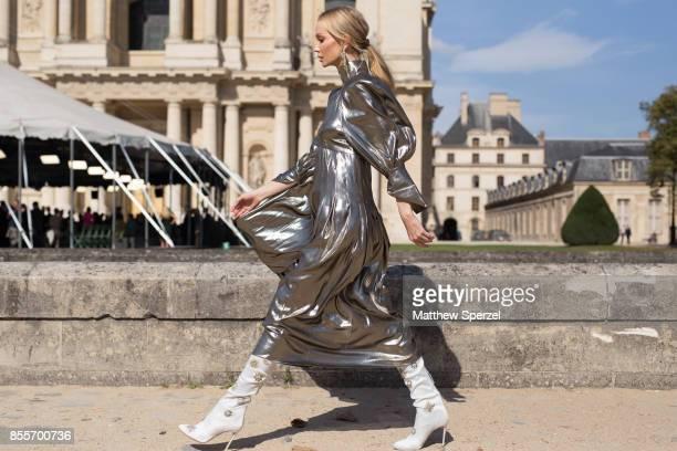 Tatiana Korsakova is seen attending Nina Ricci during Paris Fashion week wearing Nina Ricci on September 29 2017 in Paris France