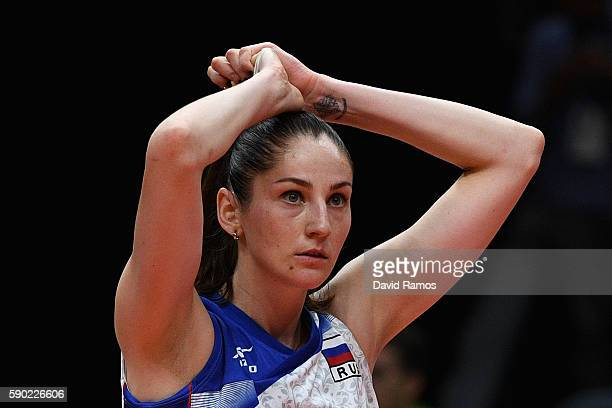 Tatiana Kosheleva of Russia looks on dejected after being defeated during the Women's Quarterfinal match between Serbia and Russia on day 11 of the...