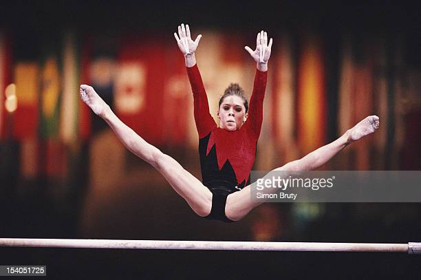 Tatiana Lysenko of Ukraine performs during the Women's Uneven Bars event on 1st October 1992 during the World Artistic Gymnastics Championships at...