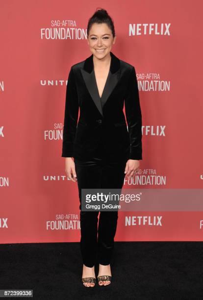 Tatiana Maslany arrives at the SAGAFTRA Foundation Patron of the Artists Awards 2017 on November 9 2017 in Beverly Hills California