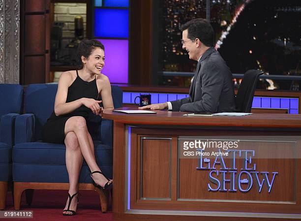 Tatiana Maslany on The Late Show with Stephen Colbert Thursday March 31 2016 on the CBS Television Network