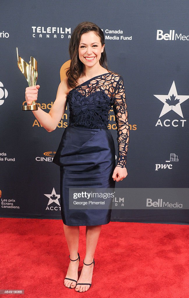 Tatiana Maslany poses in the press room at the 2015 Canadian Screen Awards at the Four Seasons Centre for the Performing Arts on March 1, 2015 in Toronto, Canada.