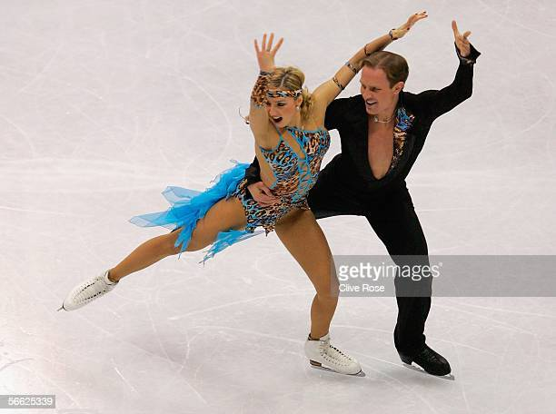 Tatiana Navka and Roman Kostomarov of Russia in action during the Original Ice Dance at the ISU European Figure Skating Championships on January 19...