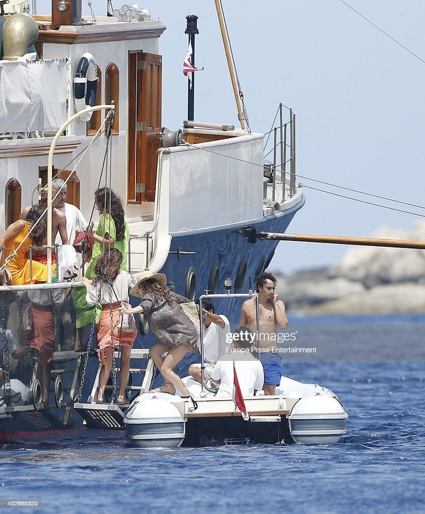 Tatiana Santo Domingo (6R), Alex Dellal (R) and Margherita Missoni (L) are seen on July 25, 2014 in Ibiza, Spain.