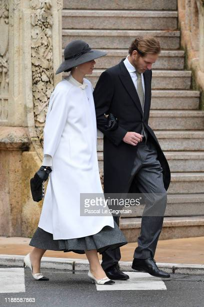 Tatiana Santo Domingo and Andrea Casiraghi arrive at the Monaco Cathedral during the Monaco National Day Celebrations on November 19 2019 in...