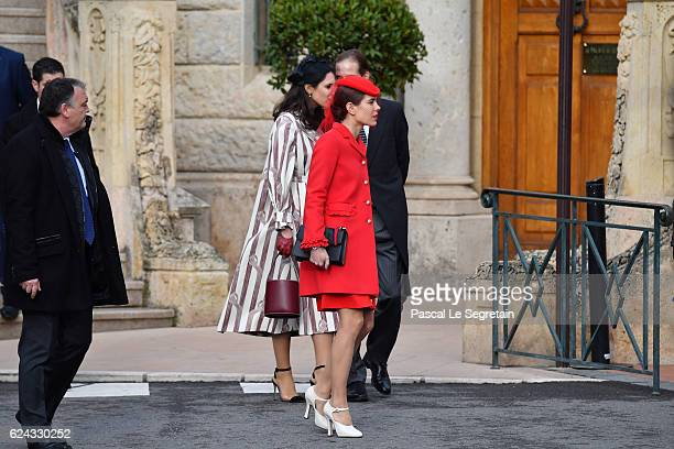 Tatiana Santo Domingo and Charlotte Casiraghi arrive at the Cathedral of Monaco before a mass during the Monaco National Day Celebrations on November...