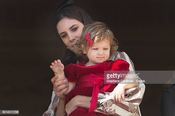 Tatiana Santo Domingo and her daughter India Casiraghi greet the crowd from the palace's balcony during the Monaco National Day Celebrations on...