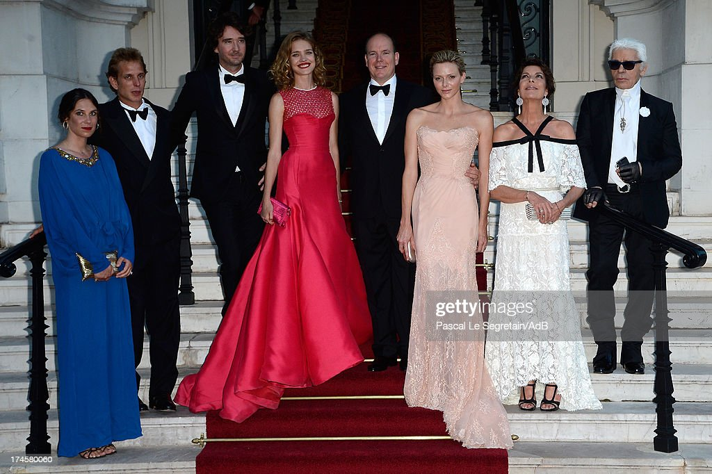 Tatiana Santo Domingo, Andrea Casiraghi, Antoine Arnault, Natalia Vodianova, Prince Albert II of Monaco, Princess Charlene of Monaco, Princess Caroline of Hanover and Karl Lagerfeld arrive at 'Love Ball' hosted by Natalia Vodianova in support of The Naked Heart Foundation at Opera Garnier on July 27, 2013 in Monaco, Monaco.
