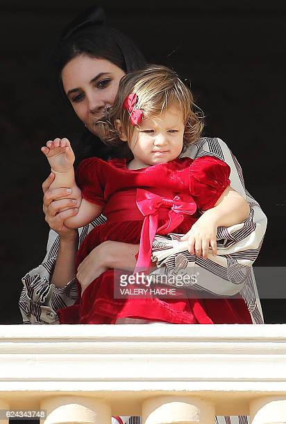 Tatiana Santo Domingo Casiraghi poses with India Casiraghi on the balcony of the Monaco Palace during the celebrations marking Monaco's National Day...