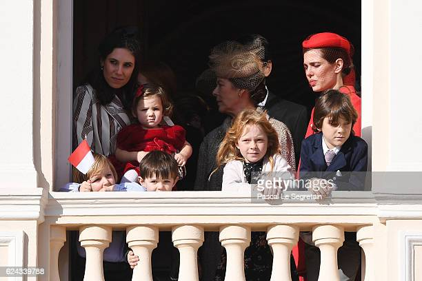 Tatiana Santo Domingo, her daughter India Casiraghi, Raphael Casiraghi,Princess Caroline of Hanover and Charlotte Casiraghi greet the crowd from the...