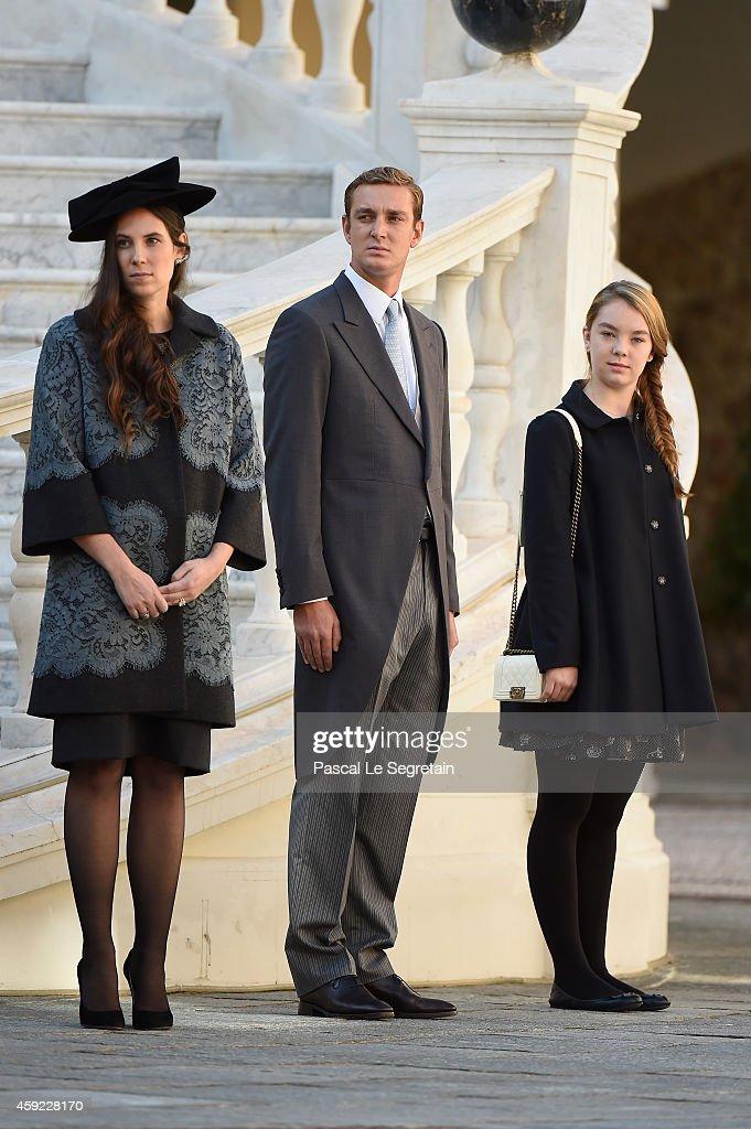 Tatiana Santo Domingo, Pierre Casiraghi and Princess Alexandra of Hanover attend the Monaco National Day Celebrations in the Monaco Palace Courtyard on November 19, 2014 in Monaco, Monaco.