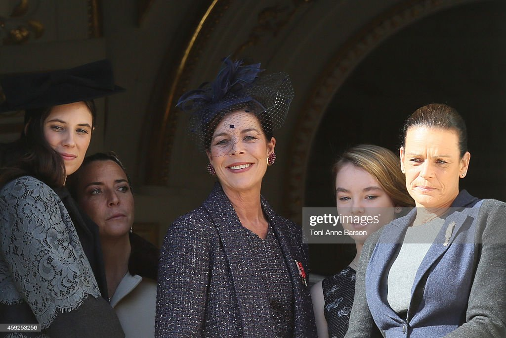 Tatiana Santo Domingo, Princess Caroline of Hanover, Princess Alexandra of Hanover and Princess Stephanie of Monaco attend the National Day Parade as part of Monaco National Day Celebrations at Monaco Palace on November 19, 2014 in Monaco, Monaco.
