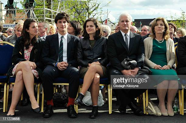 Tatiana Schlossberg Jack Schlossberg Rose Schlossberg Edwin Schlossberg and Caroline Kennedy attend a ceremony to commemorate the 50th anniversary of...