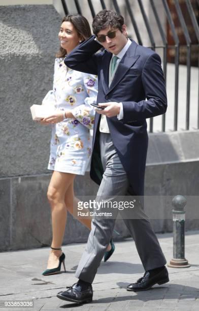 Tatiana Shin Botín and husband Alex Stamatiadis arrive to the wedding of Prince Christian of Hanover and Alessandra de Osma at Basilica San Pedro on...